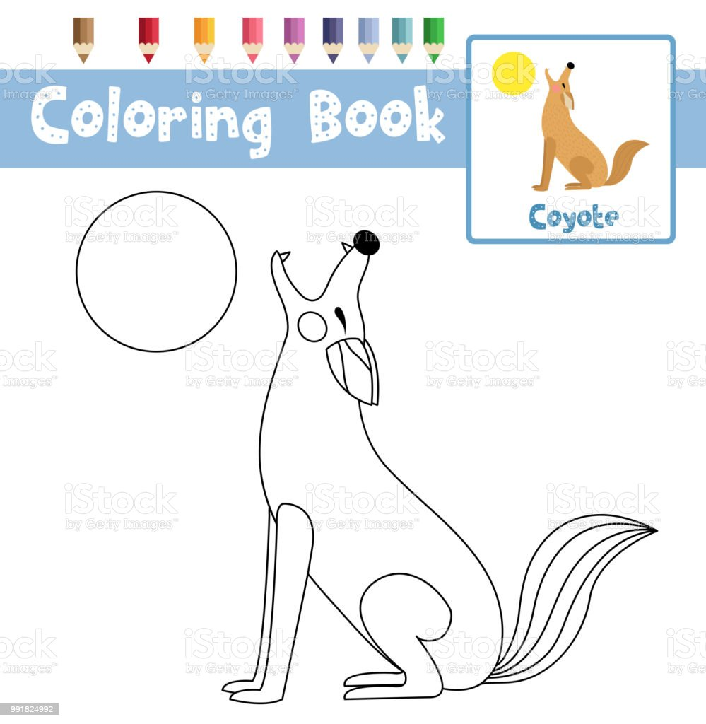 Coloring Page Howling Coyote Animal Cartoon Character Vector Illustration  Royalty Free Coloring Page Howling Coyote