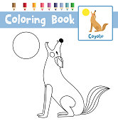 Coloring page Howling Coyote animal cartoon character vector illustration