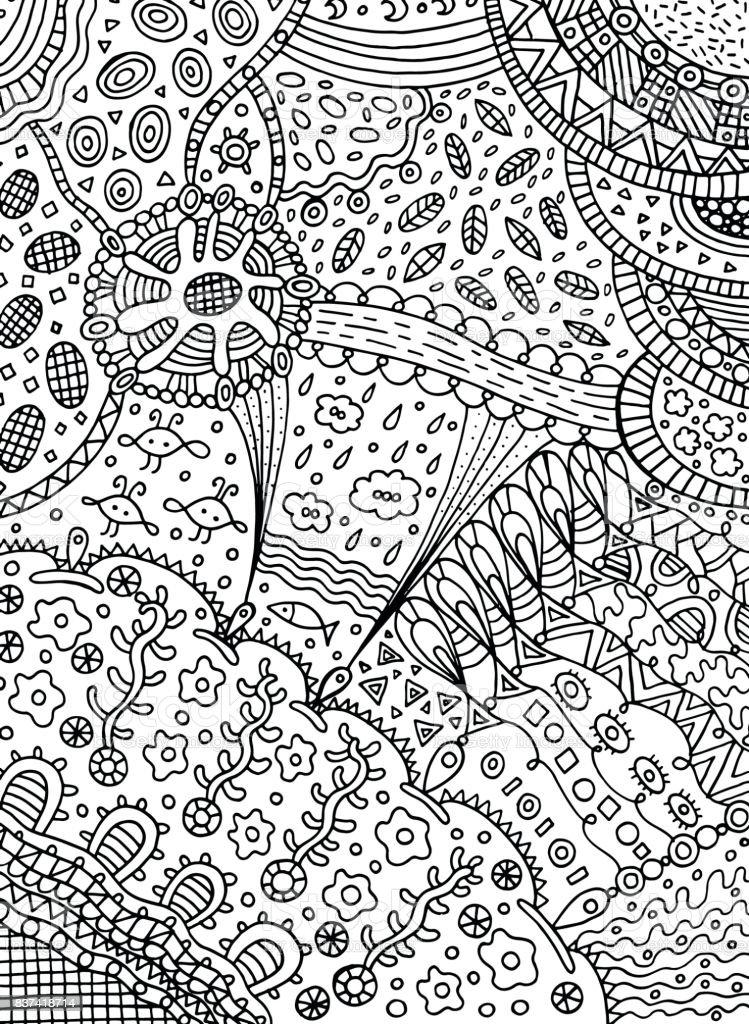 Ilustración de Página Para Colorear En Doodle Estilo Abstracto Arte ...