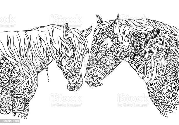 Coloring page in doodling inspired style vector illustration horses vector id856859208?b=1&k=6&m=856859208&s=612x612&h=ltdntrgxq5eues9bgdlywbbpm kadjza97ulmjtsqmq=