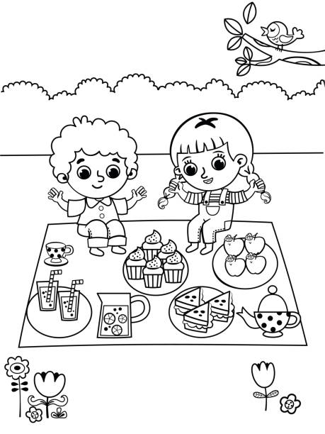 Coloring Page In Picnic Theme Coloring page in picnic theme. Leisure time activity for kids. female sandwich stock illustrations