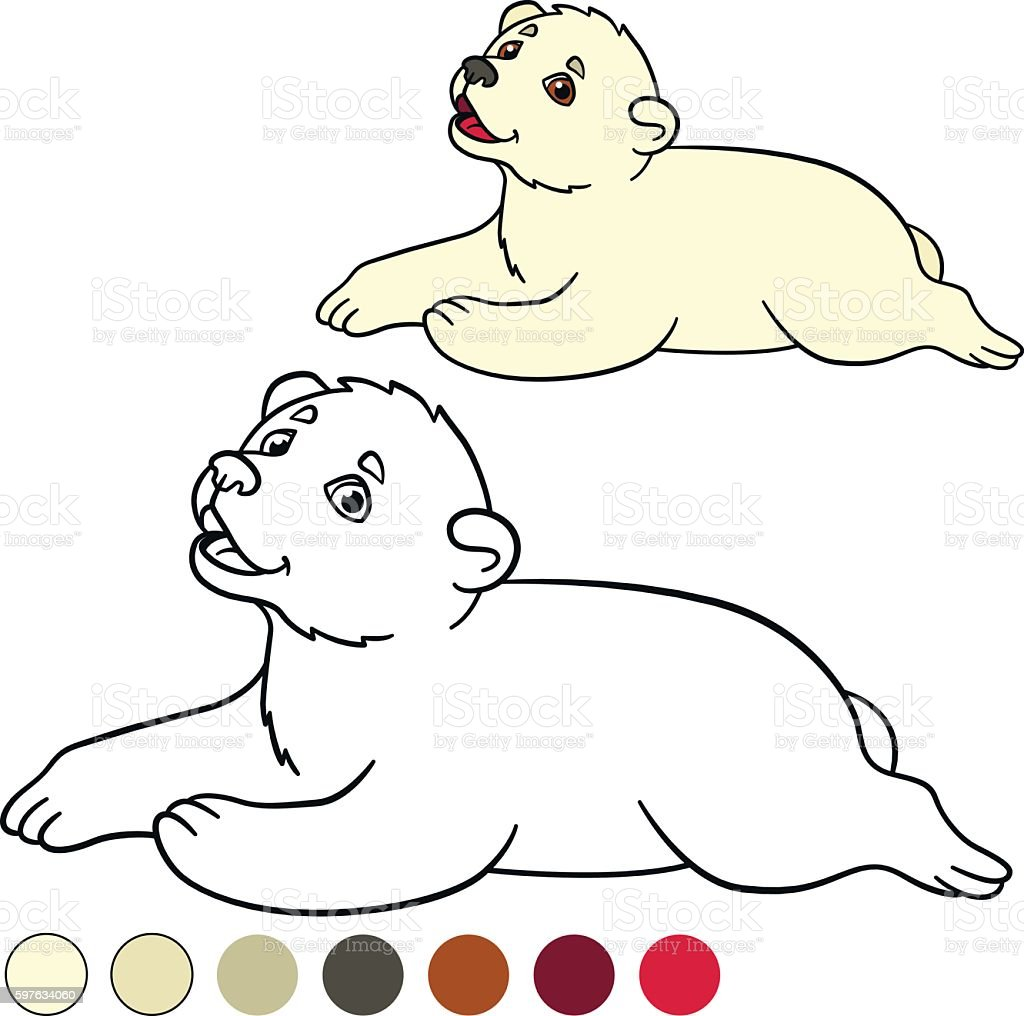Coloring Page Little Cute Baby Polar Bear Stock Vector Art & More ...