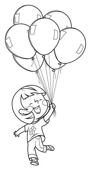 Coloring Page Little girl with balloon