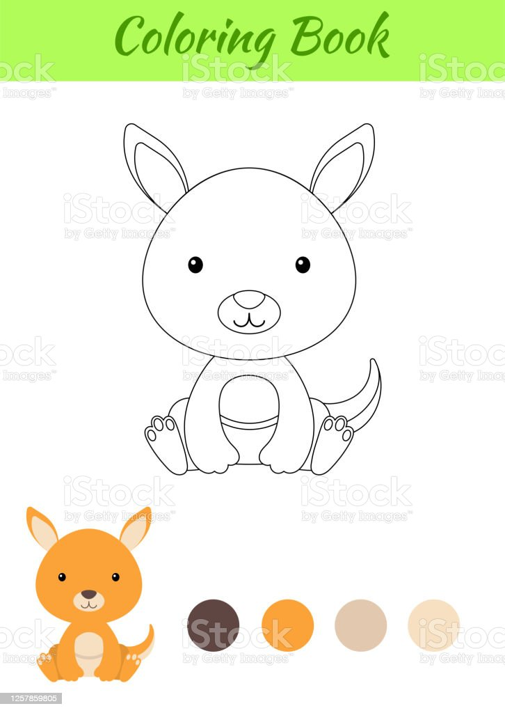 - Coloring Page Little Sitting Baby Kangaroo Coloring Book For Kids  Educational Activity For Preschool Years Kids And Toddlers With Cute Animal  Flat Cartoon Colorful Vector Stock Illustration Stock Illustration -  Download Image