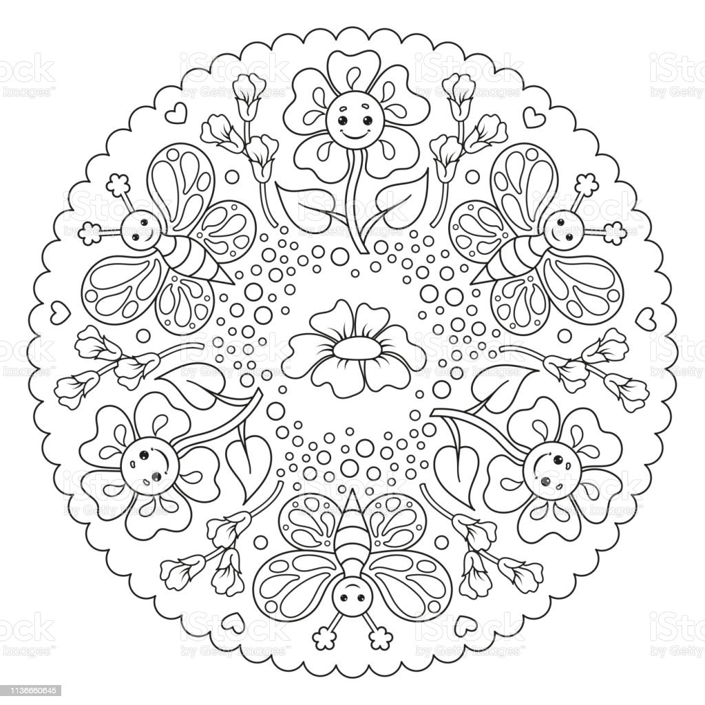 Coloring Page Mandala For Kids With Flower And Butterfly Vector