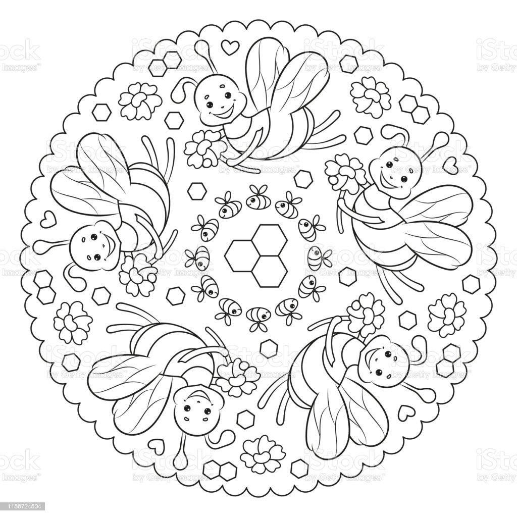Ilustración De Página Para Colorear Mandala Para Niños Con Flores Y