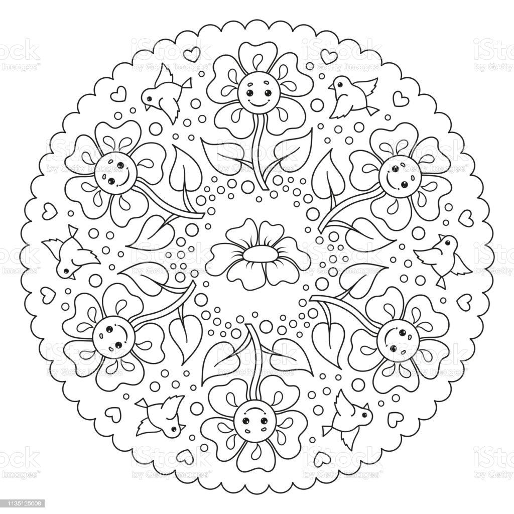 Mandala Kleurplaten Vogels.Kleurplaat Mandala Voor Kinderen Met Bloemen En Vogels