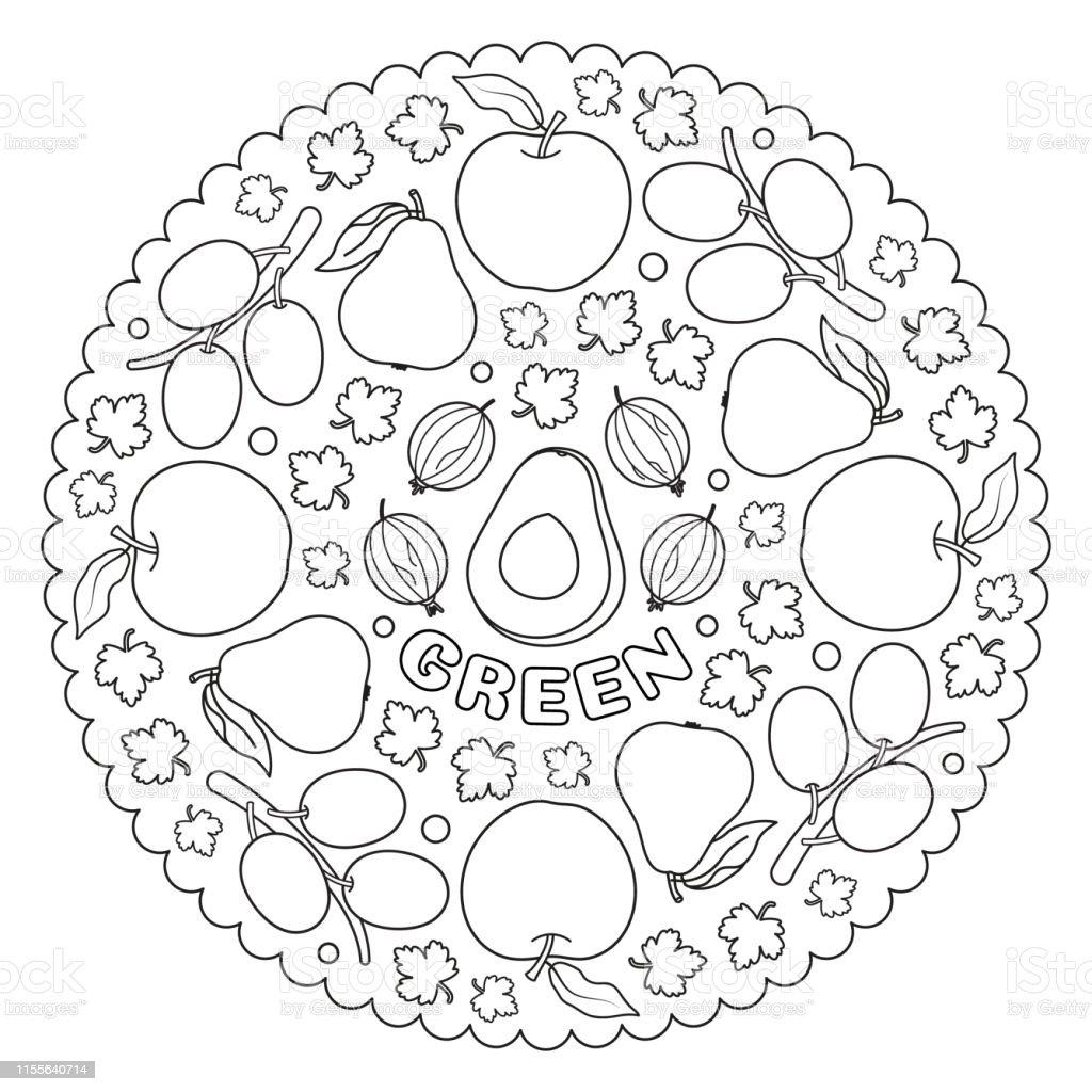 Coloriage Mandala Pour Les Enfants Avec Des Pommes Vertes