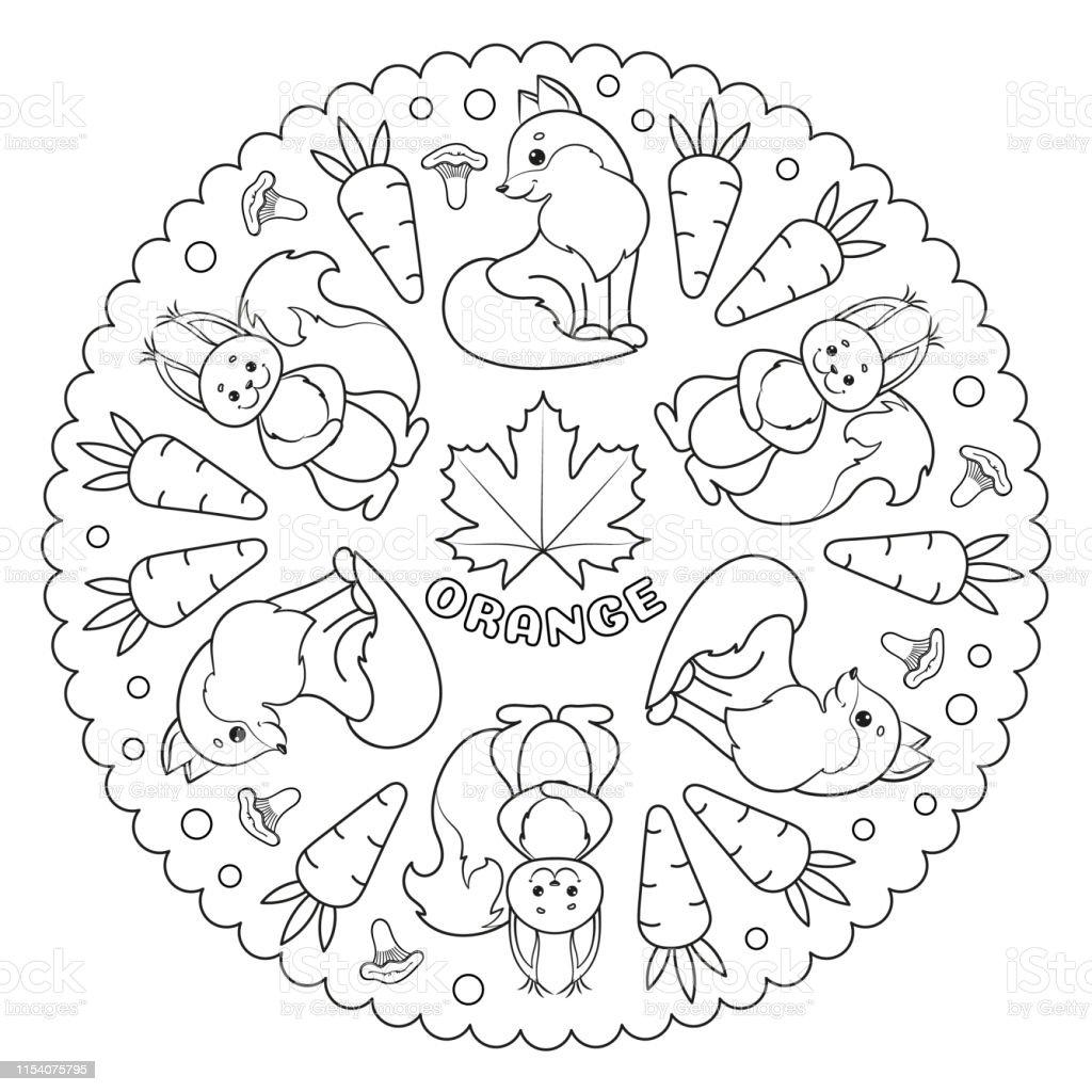 Coloriage Mandala Pour Les Enfants Avec Feuille Dérable Orange Renard  Écureuil Carottes Et Champignons Chanterelle Illustration De Vecteur  Vecteurs ...