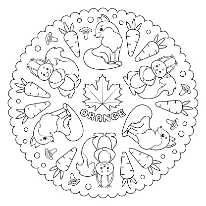 Coloring page mandala for kids with ORANGE maple leaf, fox, squirrel, carrots and chanterelle mushrooms. Vector Illustration.