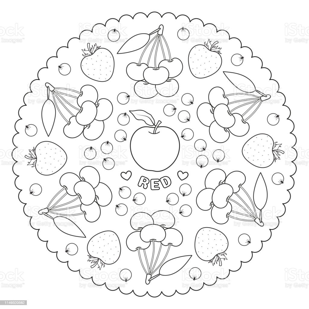 Coloring Page Mandala For Kids With Red Color Apple