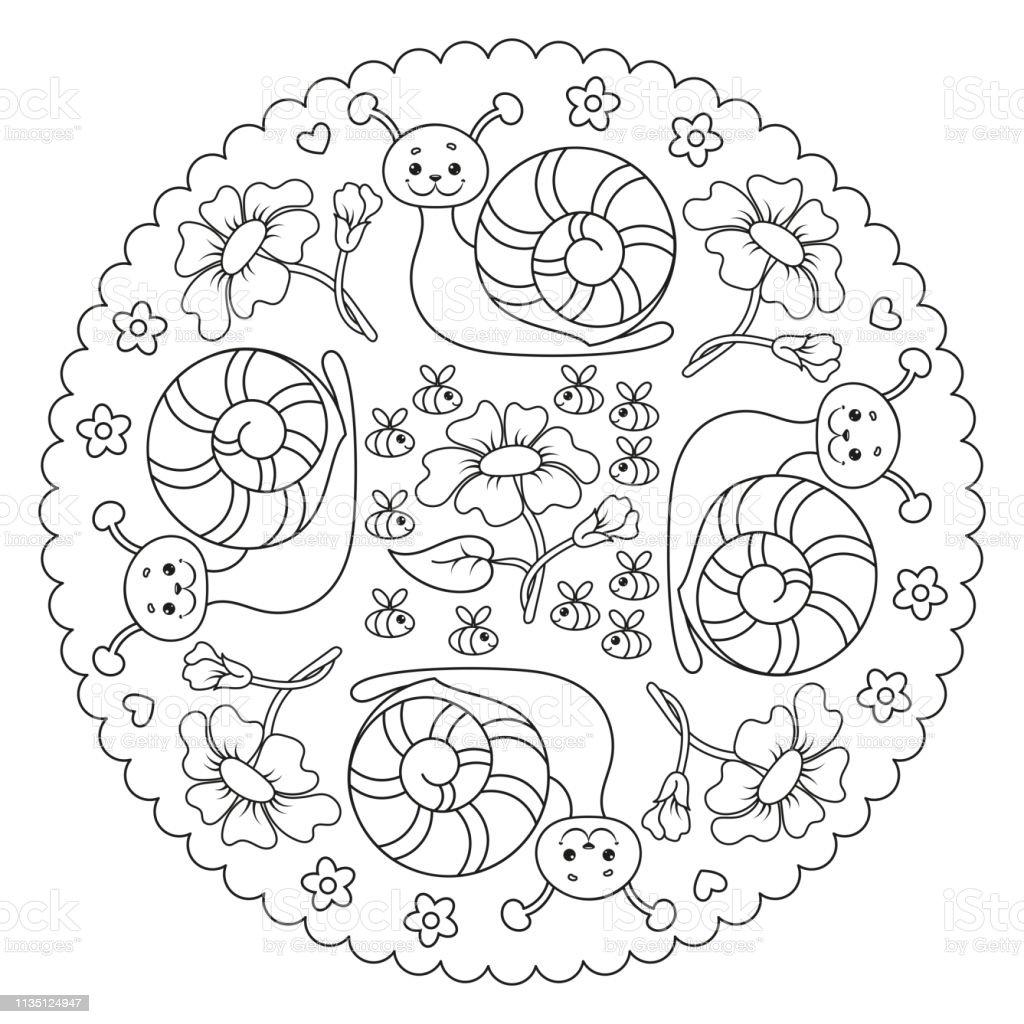 Coloriage Escargot Mandala.Coloriage Mandala De Page Pour Les Enfants Avec Escargot Fleur Et