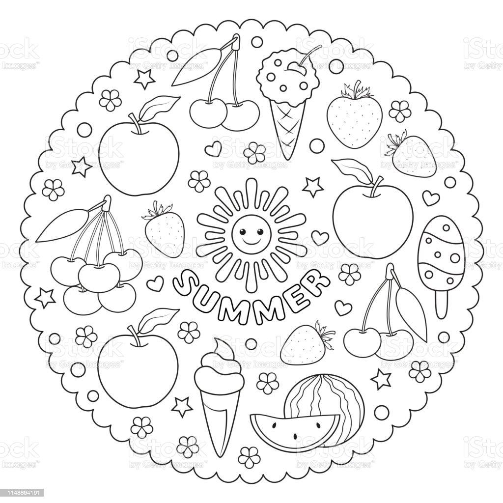 Ilustración De Mandala Para Colorear Para Niños Con Frutas De Verano
