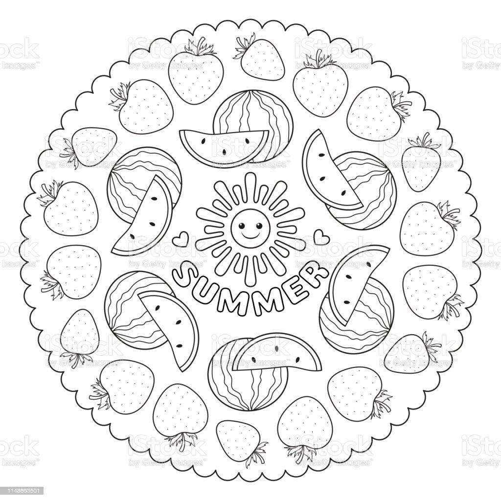 Coloriage Mandala Pour Les Enfants Avec Des Fraises Dété Et