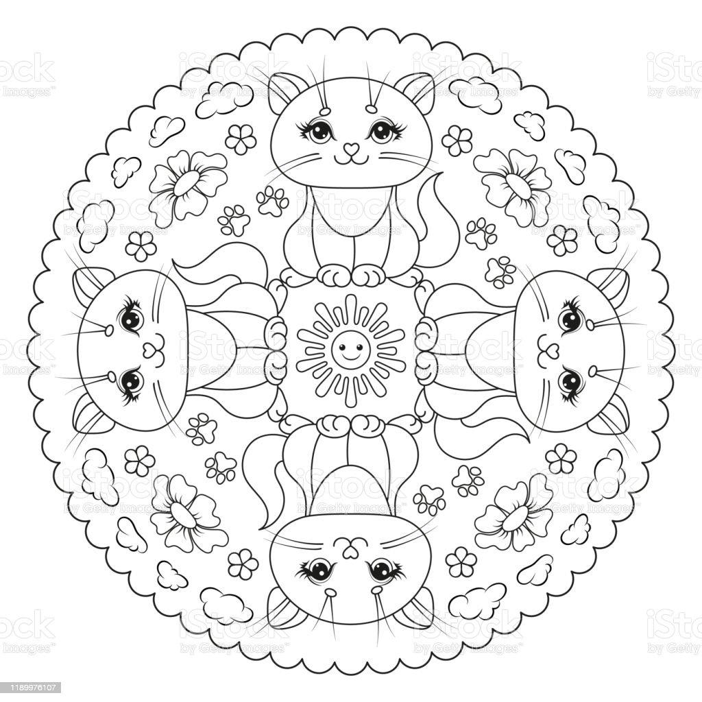 Page De Coloriage Mandala Pour Les Enfants Avec Le Soleil Chaton Pattes  Fleur Nuages Illustration De Vecteur Vecteurs libres de droits et plus ...