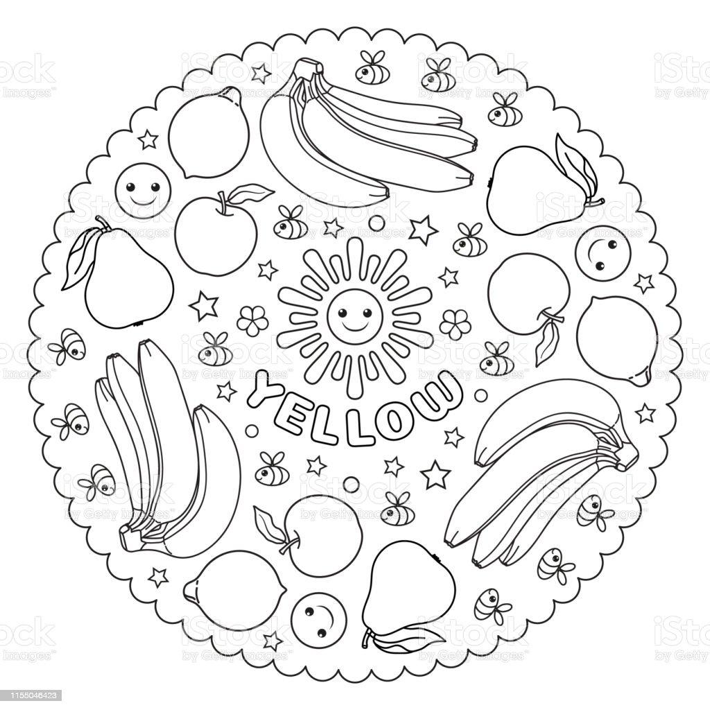 Coloriage Mandala Banane.Coloriage Mandala Pour Les Enfants Avec Des Poires Jaunes