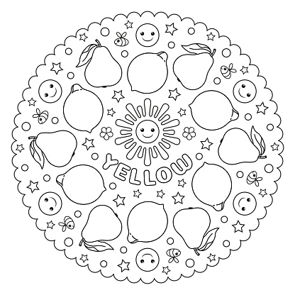 Coloring page mandala for kids with Yellow pears, lemons, smiles, bees and sun. Vector Illustration.