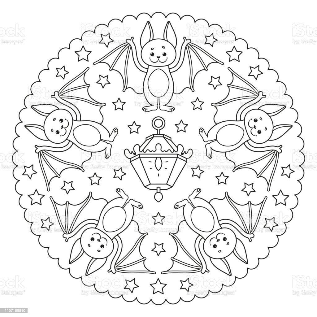 Bir Yarasa Gece Fener Ve Yildizlar Ile Boyama Sayfasi Mandala
