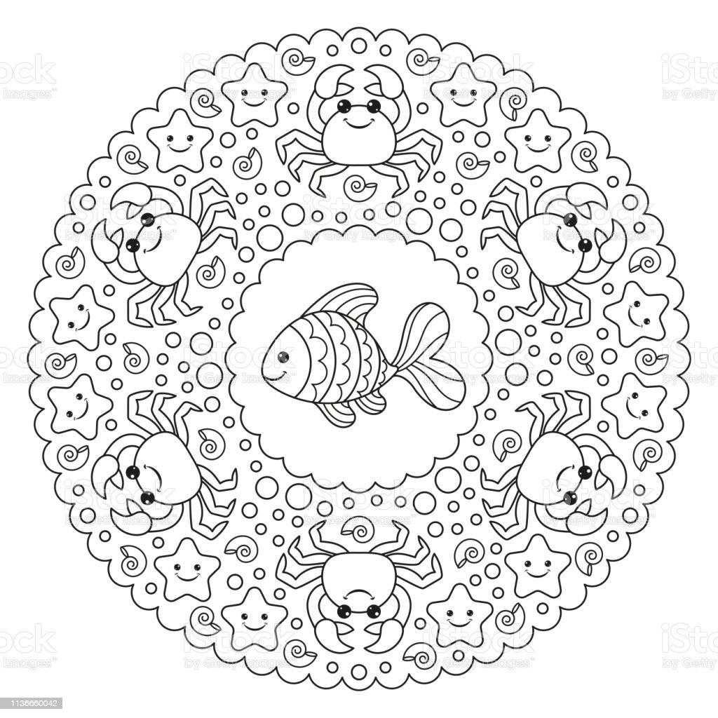 kleurplaat mandala met een krab en een vis vector