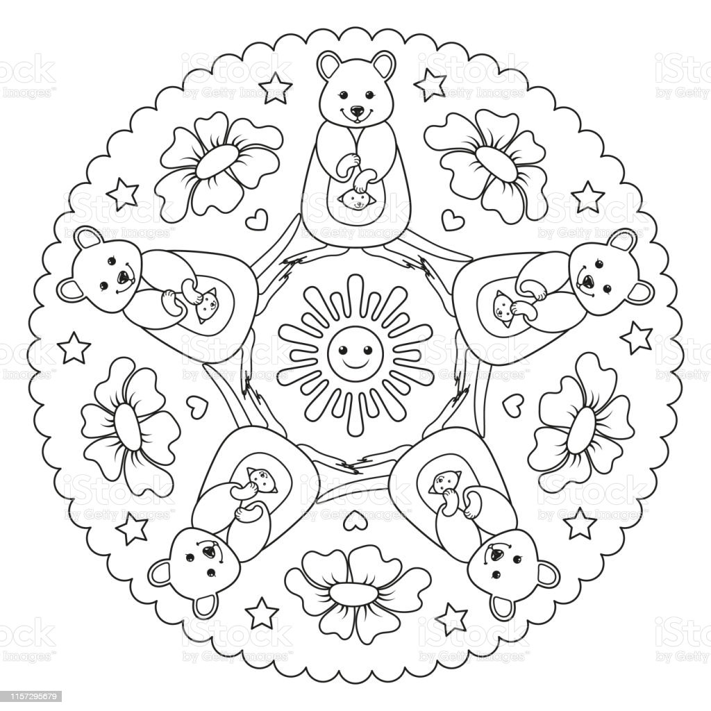 Coloring Page Mandala With A Quokka Australian Animal Vector