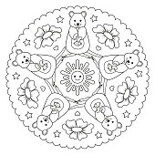 Coloring page mandala with a quokka, Australian animal. Vector Illustration.
