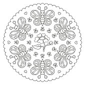 Coloring page mandala with butterfly, bee and a flower. Vector Illustration.