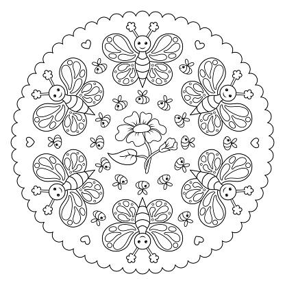 Kelebek Ari Ve Bir Cicek Ile Boyama Sayfasi Mandala Vektor