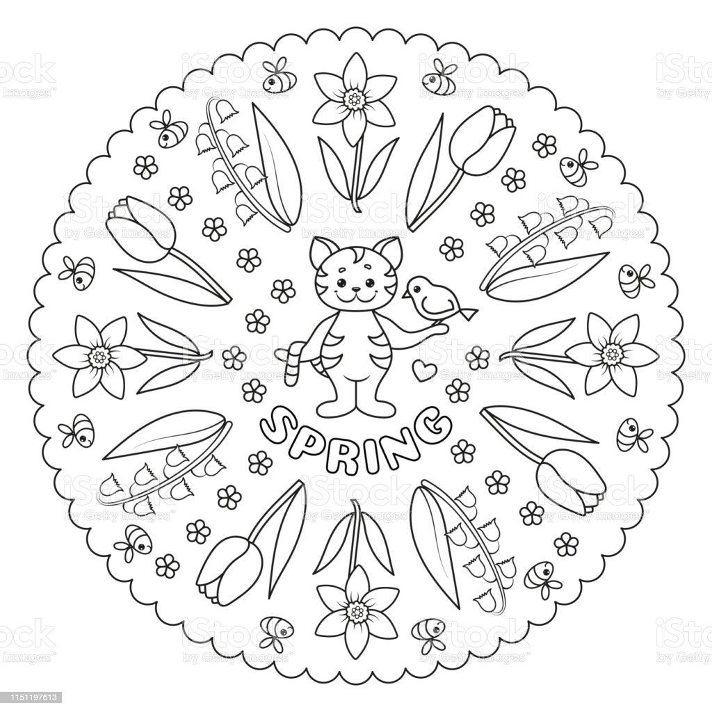 Coloriage Mandala Avec Chat Oiseau Et Fleurs Printemps