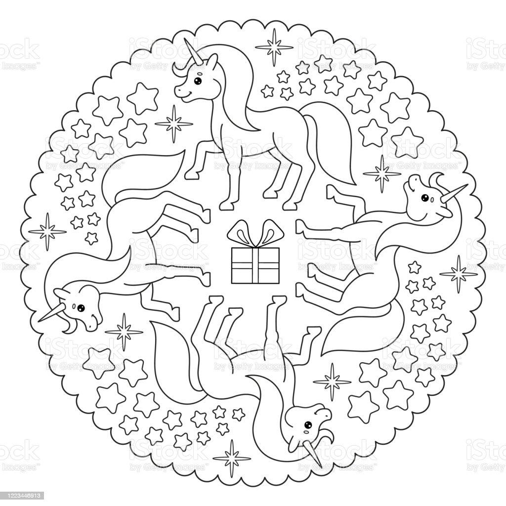Färbung Seite Mandala Mit Einhorn Sterne Geschenk