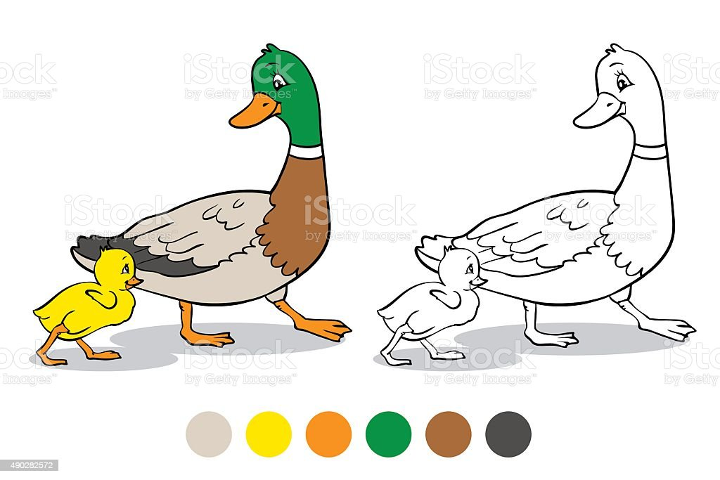 Coloring Page Mother Duck And Duckling Royalty Free Stock Vector Art