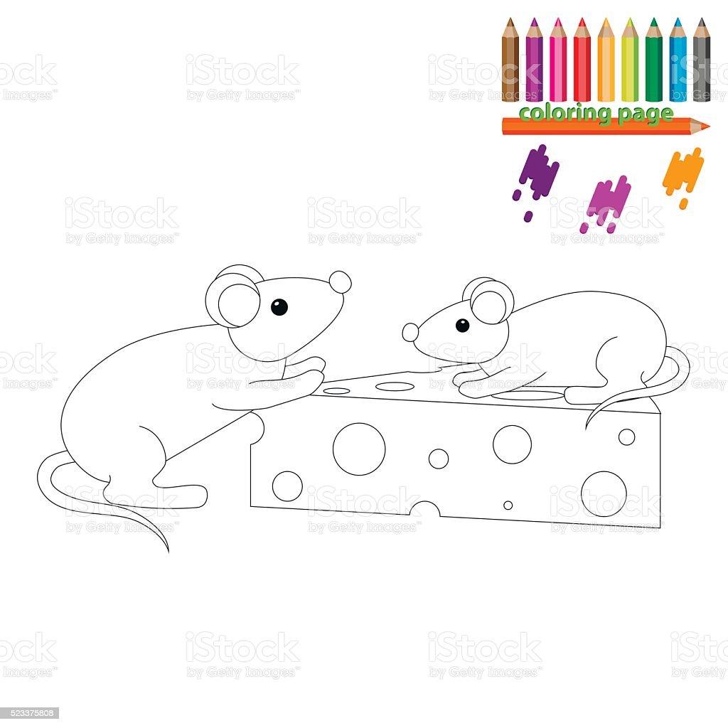 Färbung Seite Mäuse Mit Einem Stück Käse Vektor Illustration ...