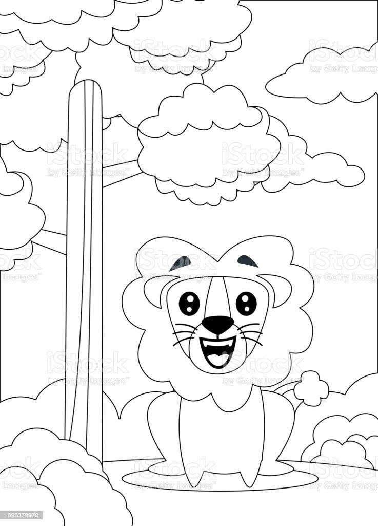 Ilustración de Página Para Colorear De Un Sit De León Y Sonriendo y ...