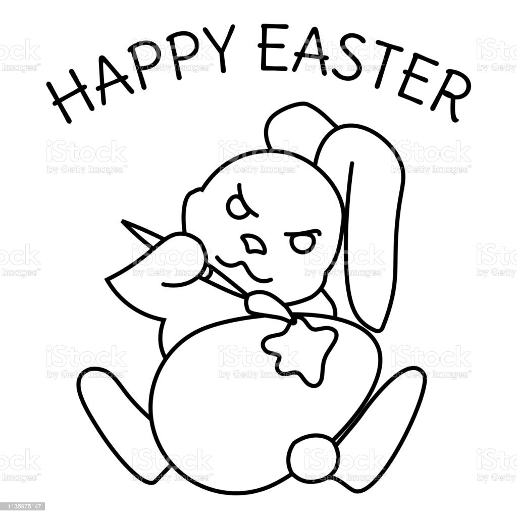 Coloring page of an easter bunny painting an egg illustration