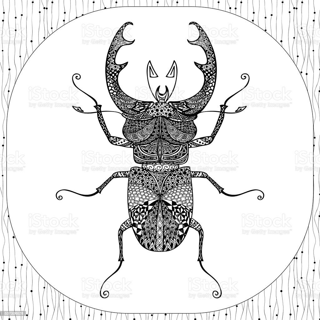 Ilustración de Página Para Colorear De Insecto Negro Illustartion y ...