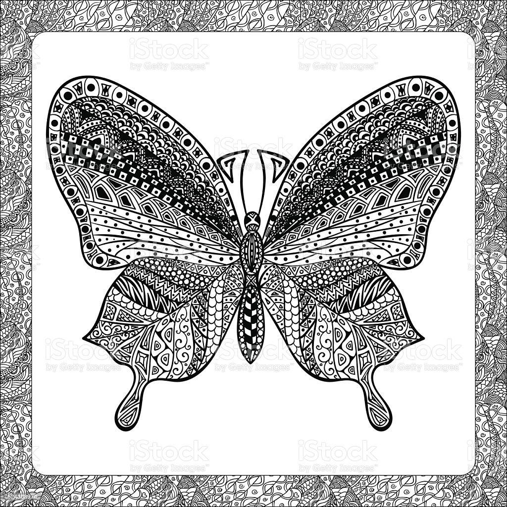 Färbung Seite Balck Schmetterling Zentangle Y Stock Vektor Art und ...