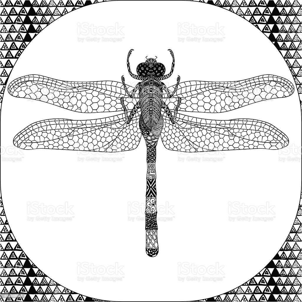 Coloring Page Of Balck Dragonfly Illustartion stock vector art ...