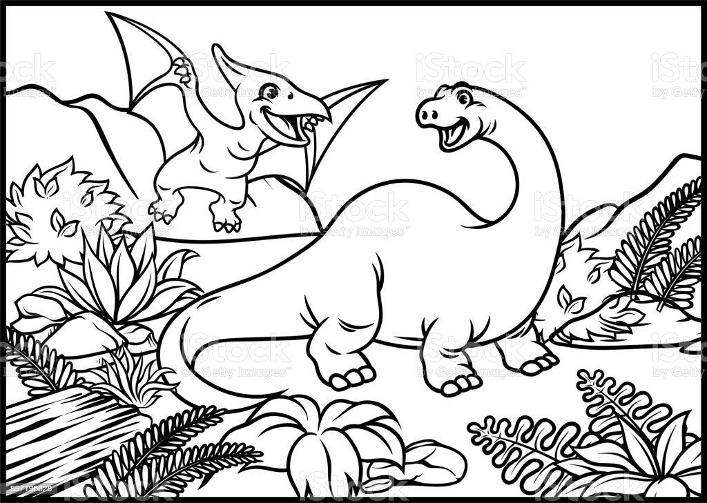 Ilustración de Página Para Colorear De Brontosaurio Y El ...
