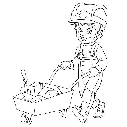 Coloring page of cartoon boy builder