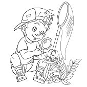 Coloring page of cartoon boy discovering nature. Coloring book design for kids.