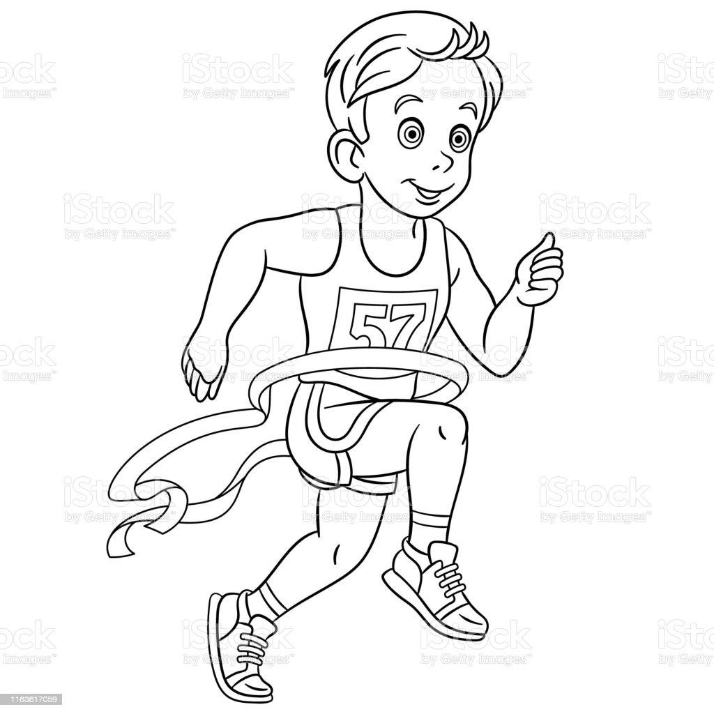 Coloring Page Of Cartoon Boy Running Marathon Winner Stock ...