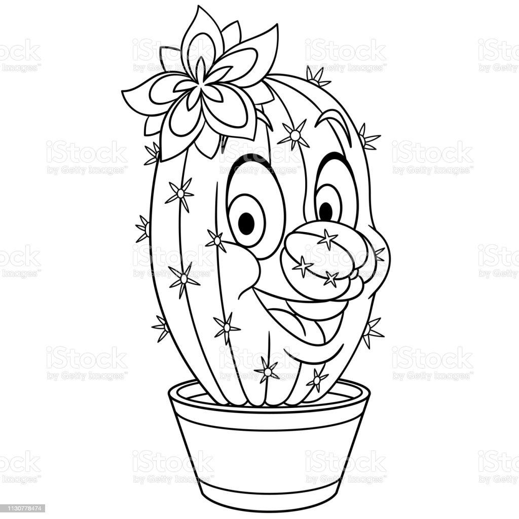 Ilustración De Página Para Colorear De Flores De Cactus De Dibujos
