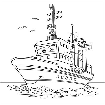 Coloring page of cartoon cargo ship