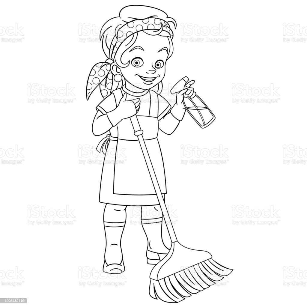 Coloring Page Of Cartoon Cleaner Girl House Or Hotel Cleaning ...