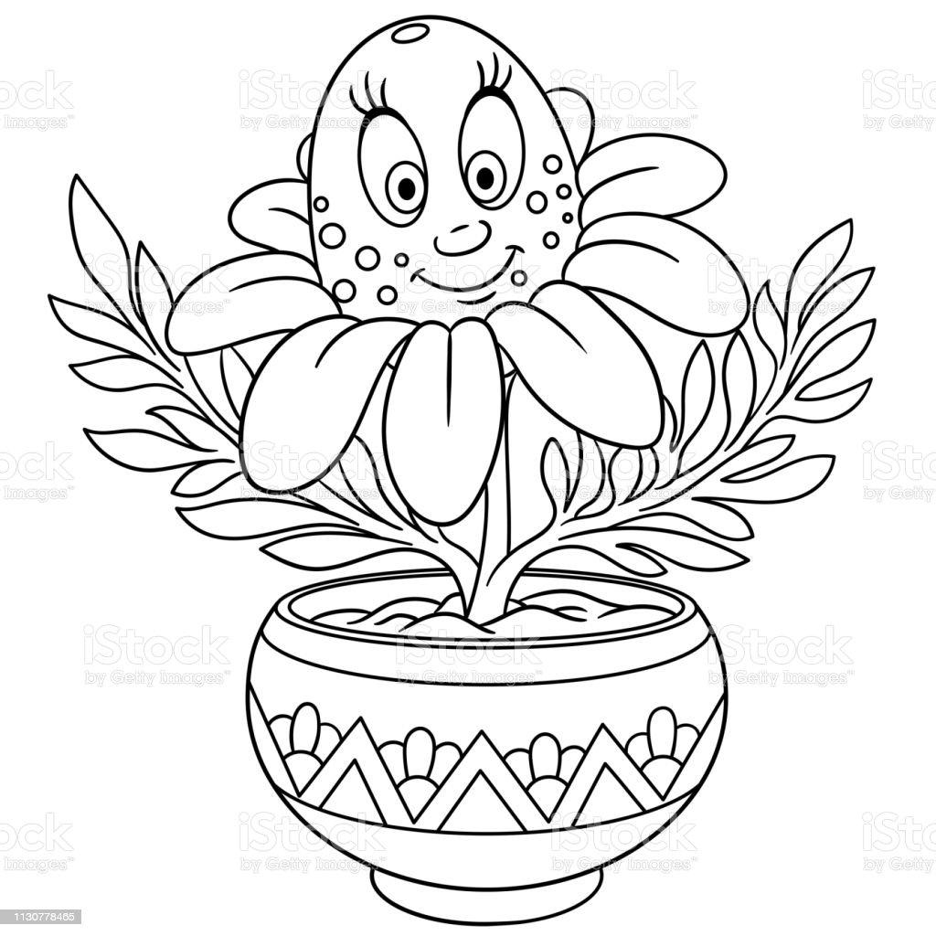 Coloriage Fleur Pot.Coloriage De Fleur De Marguerite De Dessin Anime Dans Un Pot