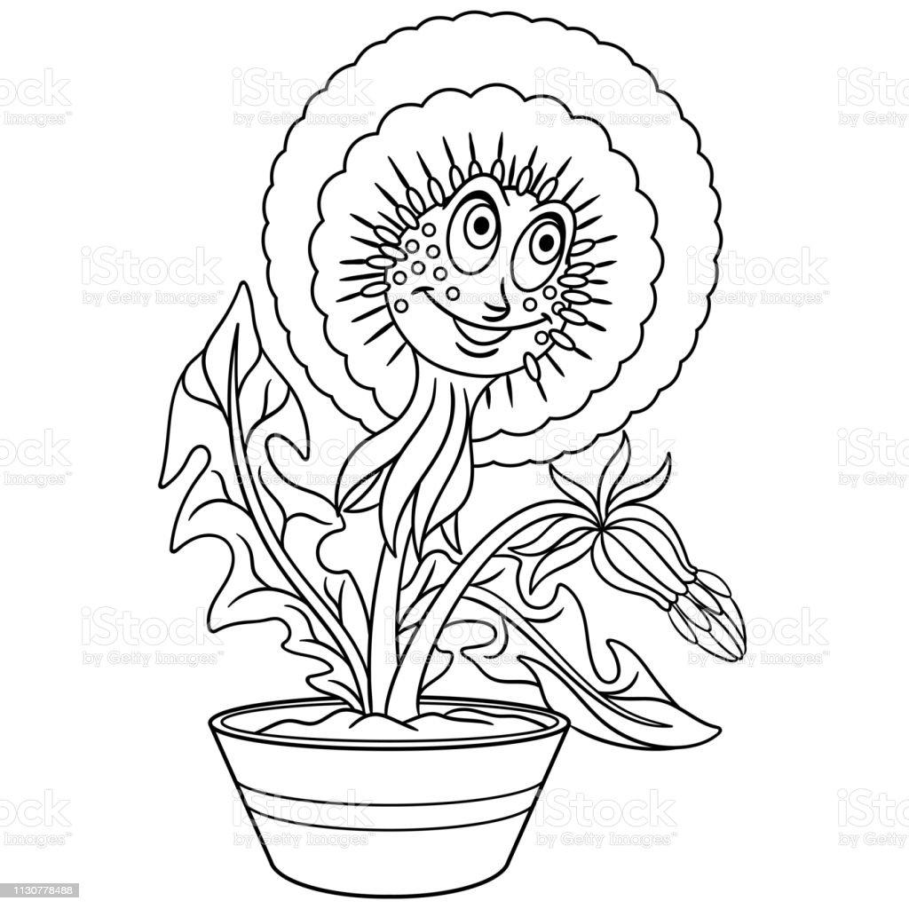 Bir Pot Karikatur Karahindion Cicek Boyama Sayfa Stok Vektor