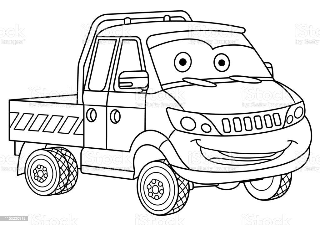 Coloriage De Camion De Livraison De Dessin Animé Vecteurs