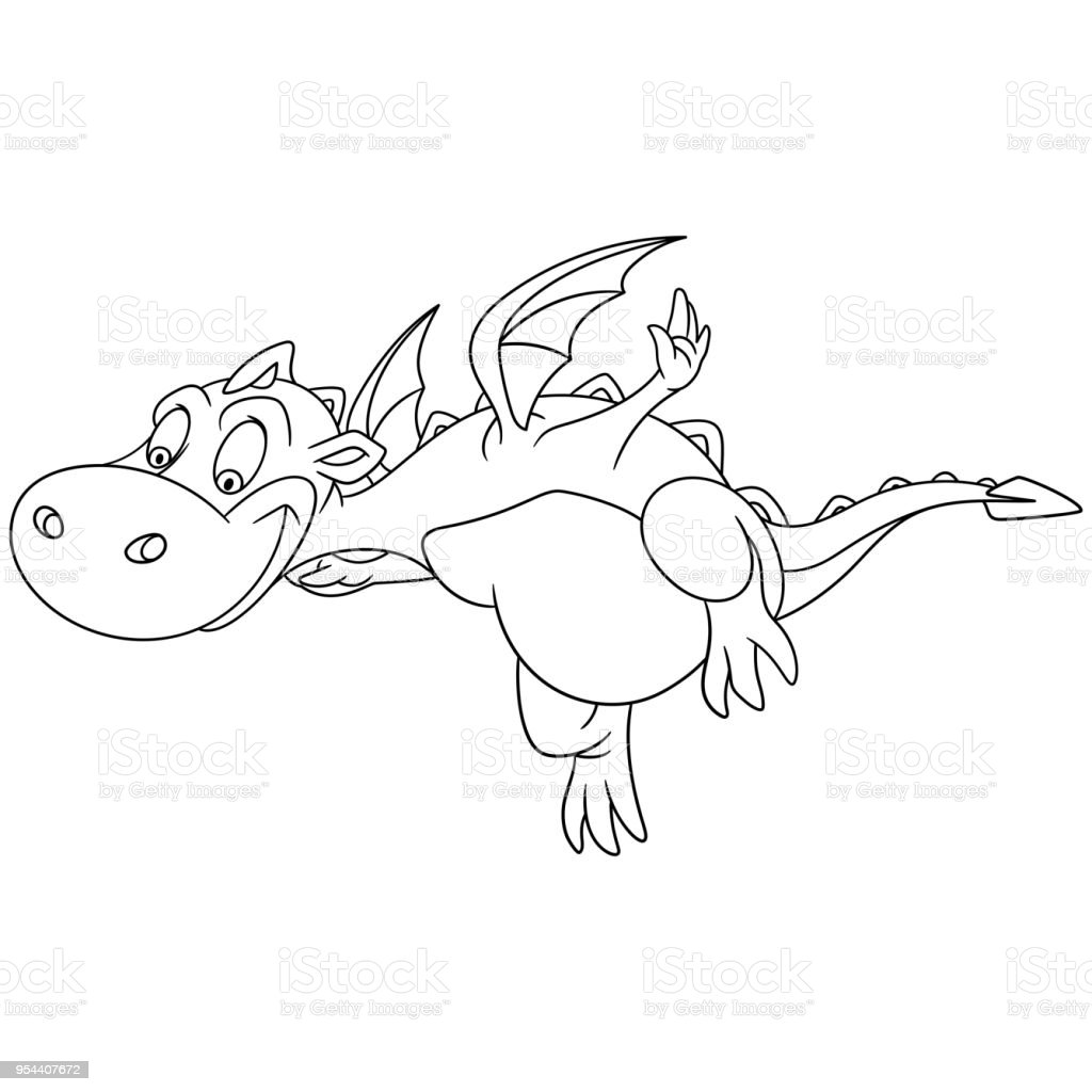 Coloring Page Of Cartoon Dragon Flying Royalty Free Stock