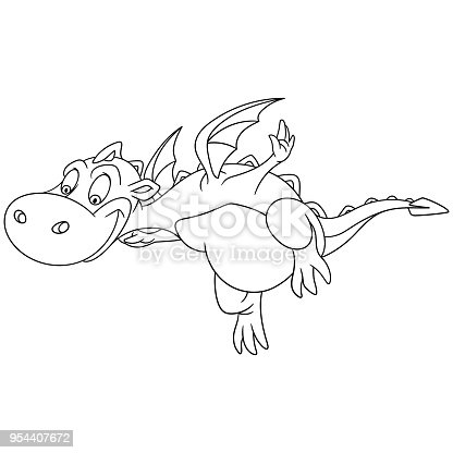 Coloring Page Of Cartoon Dragon Flying Stock Vector Art More Images Animal 954407672