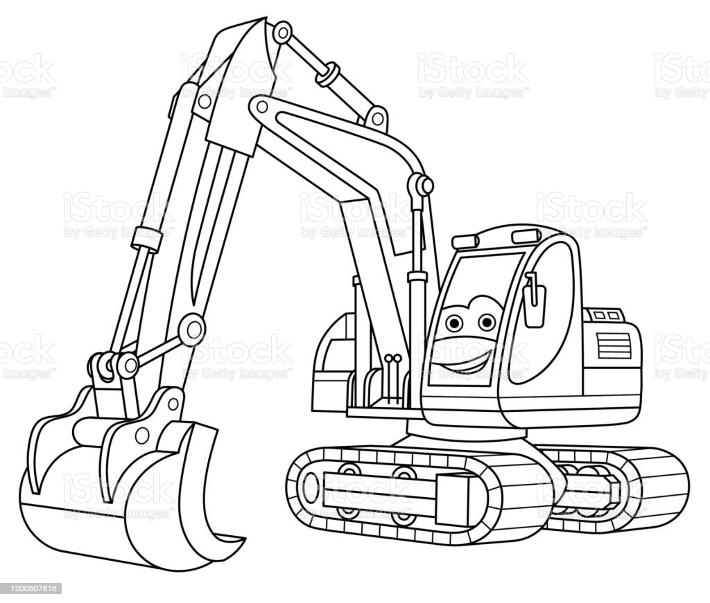 Coloring Page Of Cartoon Excavator Stock Illustration - Download