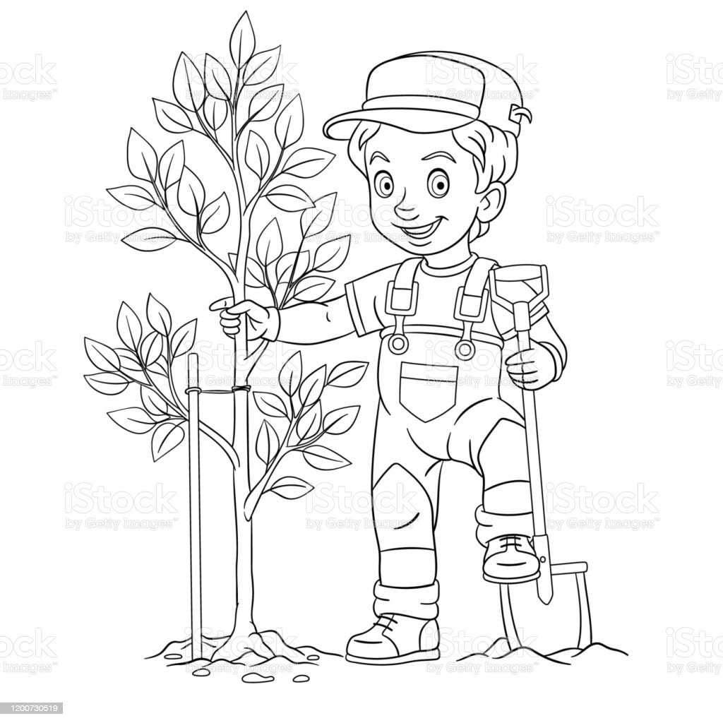 Coloring Page Of Cartoon Farmer Boy Planting A Tree Stock ...